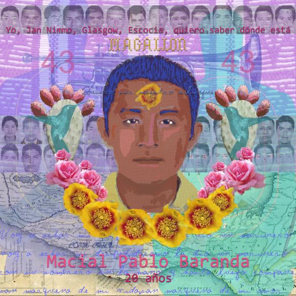 Yo, Jan Nimmo, Glasgow, Escocia, quiero saber dónde está Marcial Pablo Baranda . Digital collage: Jan Nimmo ©